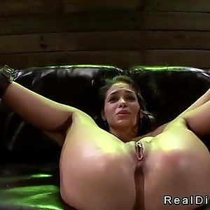 Chained and blindfolded brunette Jasmine Caro pussy fucked by machine