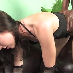 Nasty whore meets a black bull for impregnation