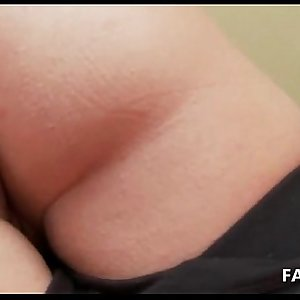 Sweet ass blonde plays with pussy in close-up