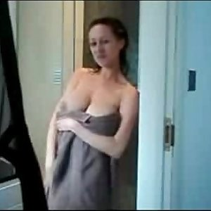Big natural breasts cheating wife rubbing in the shower
