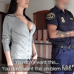 Big hooters amateur fucks fake cop in her flat