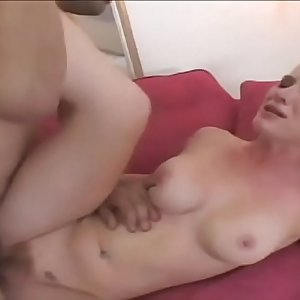 Dude squeezes babes big tits while he pounds her