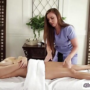 Hot Client Darcie gets eaten by her Masseuses