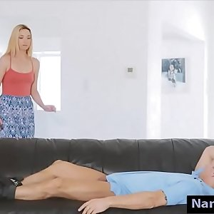 Tight nanny Zoe Parker screwed real hard on the couch