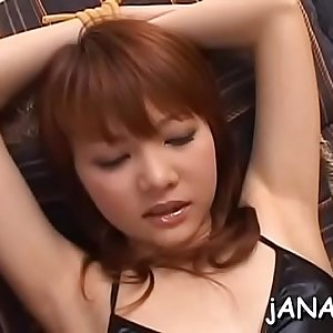 Sweet asian college honey suffers cock in both pussy and nut sack