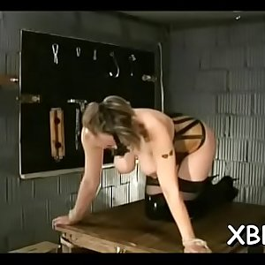 Unexperienced sucks dildos with her mambos tied up in ropes