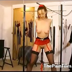 Tied amateur sex slaves whipping and tit tortures of kinky servant masochist