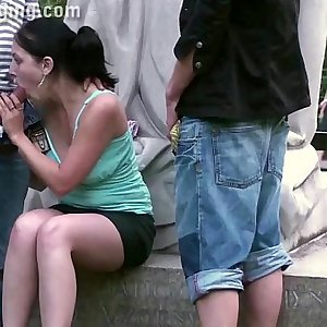 Cute teenage chick fucking on a PUBLIC street by a famous statue