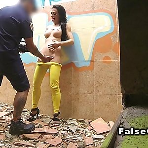 Fake cop fucks cutie in ruined building
