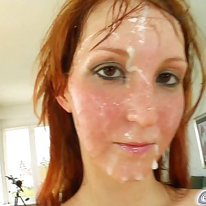 Spunk For Cover Redheads drenched in cum after 5 cock deepthroat