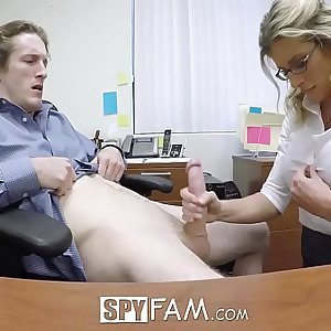 SpyFam Step son office assfuck fuck with step mom Cory Chase at work