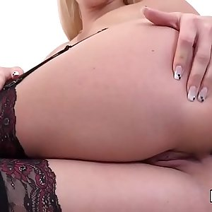 Lovely czech sweeties stretch their butts with buttplug and thick faux-cocks
