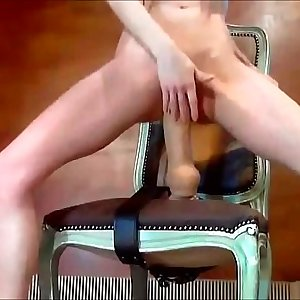 Horny Cam Girl Rails Faux-cock Strap-on On Chair