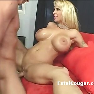 Hung man drills big boob milf in highheels then lets her suck his big stick
