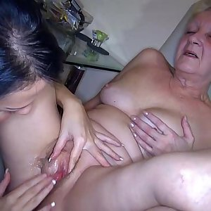 OldNanny Sexy young Woman and skinny old mature have sex with fucktoy
