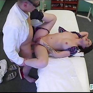 Skin examination on a hot babe in the fake hospital