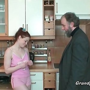Redhead housewife gets licked by her boss