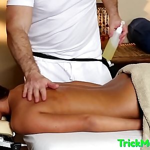 Groped beauty jizzcovered by her masseuse