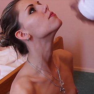 Skinny Honey gets face covered in cum after hot sex session