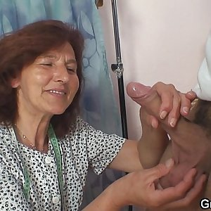 Clothed 70 years old granny rides youthfull dick