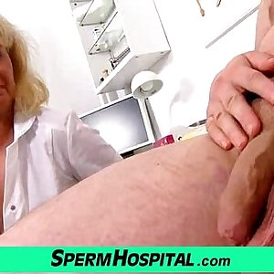 A boy gets handjob healthcare from dirty mummy doctor Koko