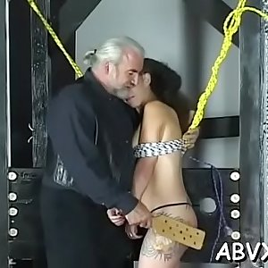 Hot scenes of rough bondage on chesty honeys bawdy cleft