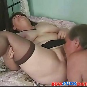 Curvy fat mature wife wearing black stocking