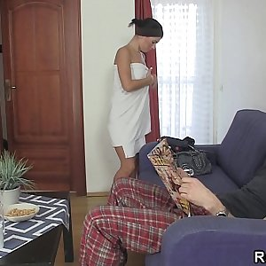 Forced blowjob and fuck after shower