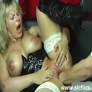 Blonde wife violently fisted in her mancum cunt