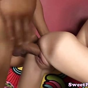 19yo petite raven riding cock of a lucky dude