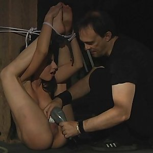 Brown-haired slave is under Masters disposal