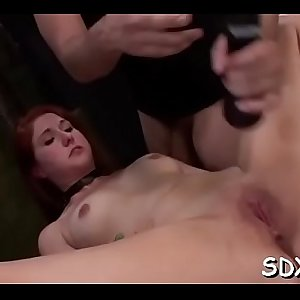 Ballgagged cutie deepthroated while sitting on a fake penis