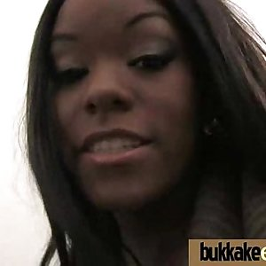 First time ebony with a group of white dicks 6