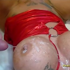 busty tattooed german in wild group sex