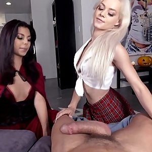 Halloween POV 3some part 1 - Elsa Jean, Gina Valentina