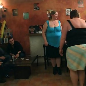 Fat girls strip and suck on hard-on