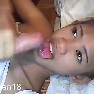 Trampy Thai Tia 18 has to suck cock in her swimsuit