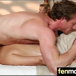 Sexy babe is massaged and fucked by her masseur 13